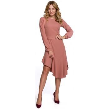 Textiel Dames Lange jurken Makover K077 Jurk met flamenco volant - rose