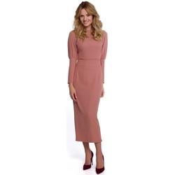 Textiel Dames Lange jurken Makover K079 Midi-lengte jurk met split op de rug - rose