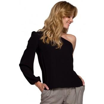Textiel Dames Tops / Blousjes Makover K080 Een schouder top - zwart