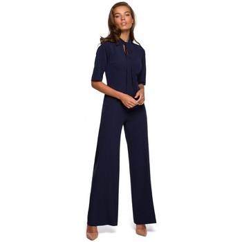 Textiel Dames Jumpsuites / Tuinbroeken Style S243 Elegante jumpsuit met een strikceintuur - marineblauw