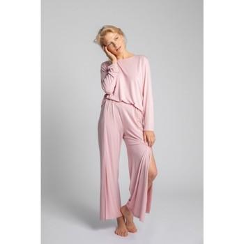 Textiel Dames Pyjama's / nachthemden Lalupa LA026 Viscose Broek Met Hoge Splitten - roze