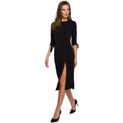 Textiel Dames Korte jurken Makover K007 Gebreide jurk met aangeknoopte mouwen - zwart