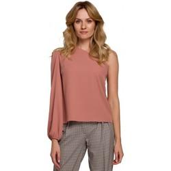 Textiel Dames Tops / Blousjes Makover K080 Een schouder top - rose