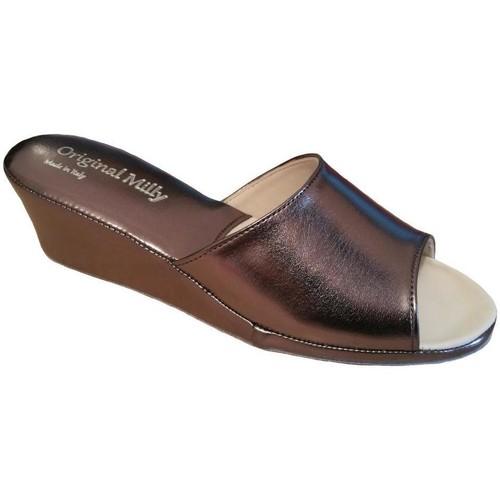 Schoenen Dames Leren slippers Milly MILLY103pio grigio