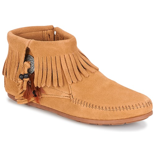 Schoenen Dames Laarzen Minnetonka CONCHO FEATHER SIDE ZIP BOOT Camel