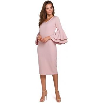 Textiel Dames Lange jurken Makover K002 Sheath jurk met ruche mouwen - crepepink
