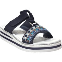 Schoenen Dames Leren slippers Rieker V02m6 Marineblauw
