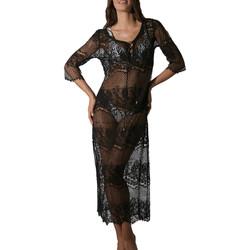 Textiel Dames Pareo Luna Lange doorzichtige kanten strandjurk Malibu zwart Parelmoer Zwart