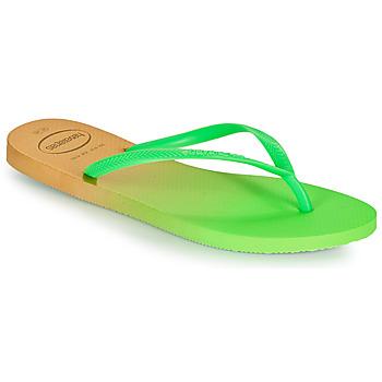Schoenen Dames Teenslippers Havaianas SLIM GRADIENT Wit / Groen