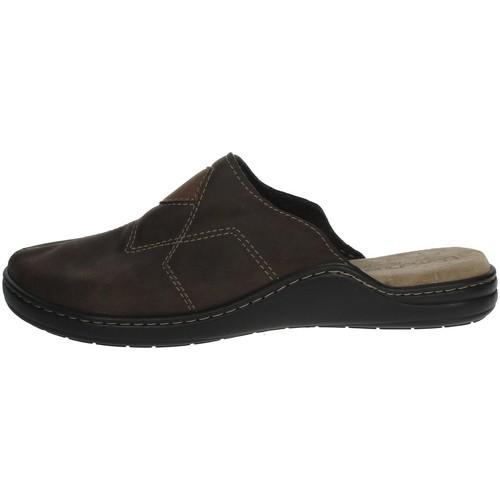 Schoenen Heren Leren slippers Uomodue LEATHER-58 Brown