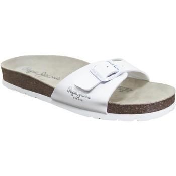 Schoenen Dames Leren slippers Pepe jeans Oban Basic LFR Wit