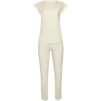 Textiel Dames Pyjama's / nachthemden Lisca Pyjamabroek korte mouw bovenbroek binnenkleding Harvest Geel