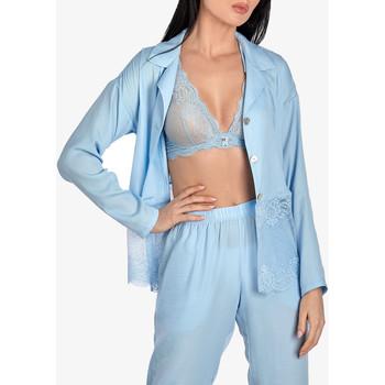 Textiel Dames Pyjama's / nachthemden Ajour Vergeet-Me-Niet lange mouwen pyjamatop in hemelsblauw Blauw Ciel