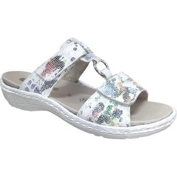 Schoenen Dames Leren slippers Remonte Dorndorf D7644 Wit / Meerkleurig