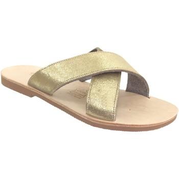 Schoenen Dames Leren slippers Les Spartiates Phoceennes Cassou Goud / platina