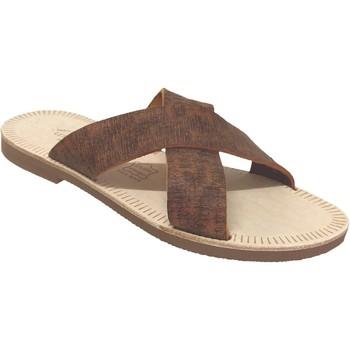 Schoenen Heren Leren slippers Les Spartiates Phoceennes Tam Bruin leer