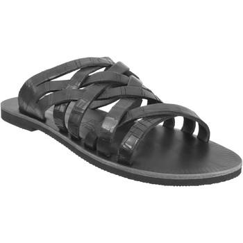 Schoenen Heren Leren slippers Les Spartiates Phoceennes Sevan Zwart leer