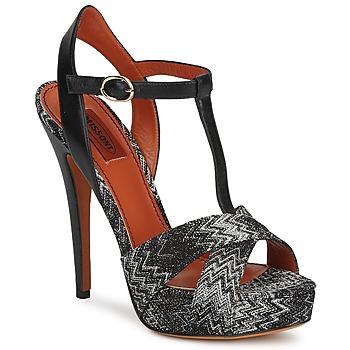 Schoenen Dames Sandalen / Open schoenen Missoni VM034 Zwart / Wit