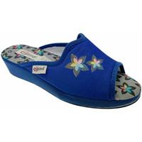 Schoenen Dames Leren slippers Cristina CRI47avio blu