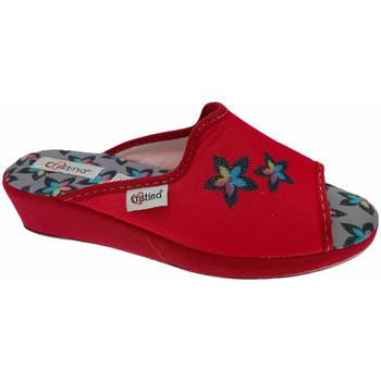 Schoenen Dames Leren slippers Cristina CRI47ross rosso