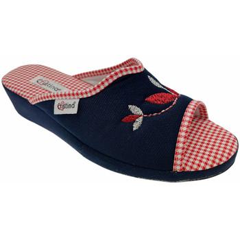 Schoenen Dames Leren slippers Cristina CRI51blu blu