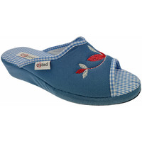 Schoenen Dames Leren slippers Cristina CRI51avio blu