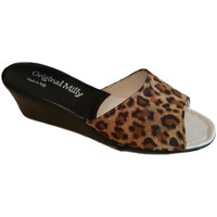 Schoenen Dames Leren slippers Milly MILLY103animal nero