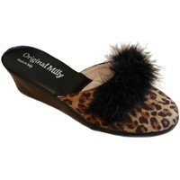 Schoenen Dames Leren slippers Milly MILLY300CIGNOanimal nero