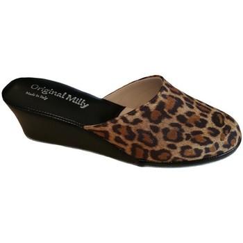 Schoenen Dames Leren slippers Milly MILLY5000animal nero