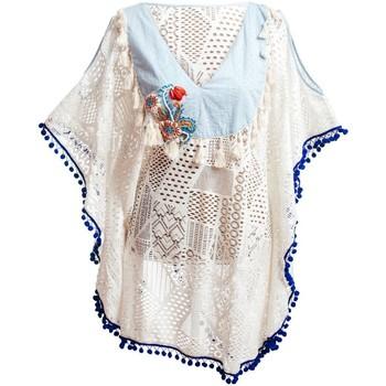 Textiel Dames Pareo Isla Bonita By Sigris Poncho Blanco