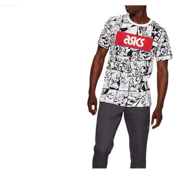 Textiel Heren T-shirts korte mouwen Asics TF M Graphic SS 1 Tee Blanc