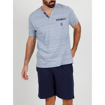 Textiel Heren Pyjama's / nachthemden Admas For Men Pyjama kort t-shirt Light Stripes blauw Admas Blauw