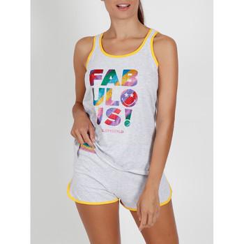Textiel Dames Pyjama's / nachthemden Admas Pyjama shorts tank top Glitter Smiley grijs Lichtgrijs