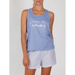 Textiel Dames Pyjama's / nachthemden Admas Pyjama shorts tank top Oui A L'Amour blauw Blauw