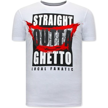 Textiel Heren T-shirts korte mouwen Local Fanatic Stoere Straight Outta Ghetto Wit