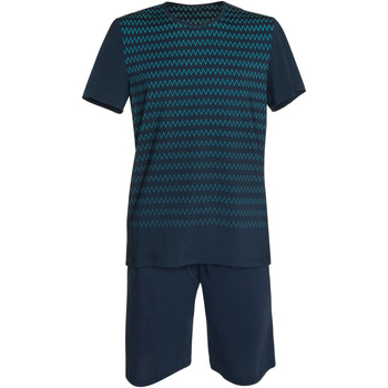 Textiel Heren Pyjama's / nachthemden Lisca Pyjamashort t-shirt Hypnos blauw  Heren Blauw