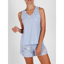 Textiel Dames Pyjama's / nachthemden Admas Pyjama shorts tanktop Lichtblauwe Bloemen Adma's Blauw
