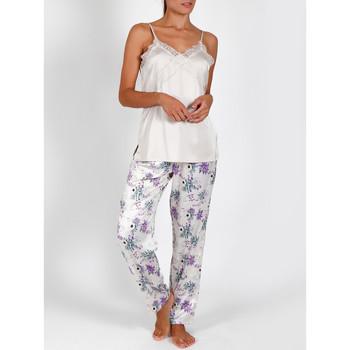 Textiel Dames Pyjama's / nachthemden Admas Pyjama satijnen hemdjesbroek Romantisch ivoor Adma's Geel