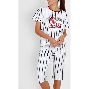 Textiel Dames Pyjama's / nachthemden Admas Pyjama broek t-shirt Mickey Beisbol Disney wit Wit