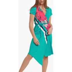 Textiel Dames Jurken Lisca Tahiti  asymmetrische zomerjurk met korte mouwen Donkergroen