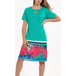 Textiel Dames Jurken Lisca Tahiti  zomerjurk met korte mouwen Donkergroen