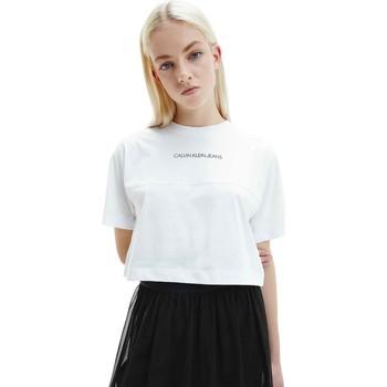 Textiel Dames T-shirts korte mouwen Calvin Klein Jeans J20J215313 Wit