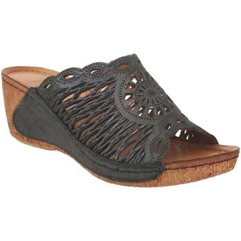 Schoenen Dames Leren slippers Karyoka Geni Zwart leer
