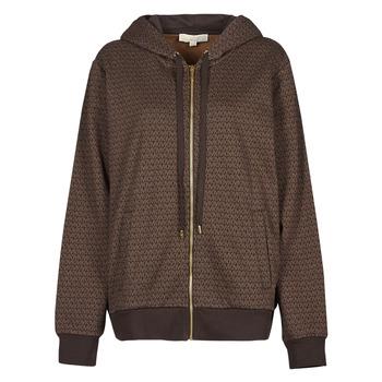 Textiel Dames Sweaters / Sweatshirts MICHAEL Michael Kors UNISEX MK DOT ZIP HOODIE Bruin