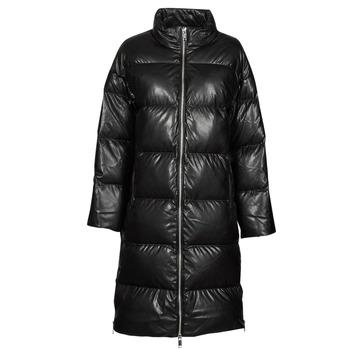 Textiel Dames Dons gevoerde jassen MICHAEL Michael Kors LONG FAUX LTHR PUFFER Zwart
