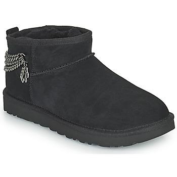 Schoenen Dames Laarzen UGG Classic Ultra Mini Chains Zwart