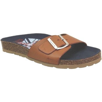 Schoenen Dames Leren slippers Pepe jeans Oban flap Lichtbruin