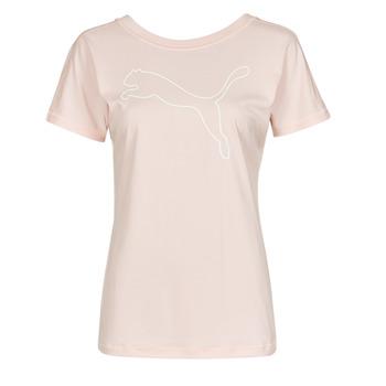 Textiel Dames T-shirts korte mouwen Puma TRAIN FAVORITE JERSEY CAT TEE Roze
