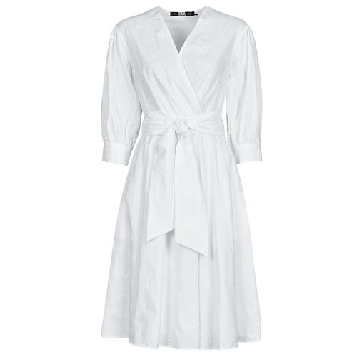 Textiel Dames Korte jurken Karl Lagerfeld LOGO EMROIDERED SHIRT DRESS Wit