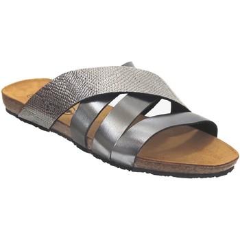 Schoenen Dames Leren slippers Plakton Man perla Donkergrijs leer